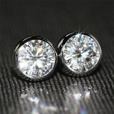 2 Ct Bezel set Near White Round Cut Moissanite Stud Earrings 9K In White Gold