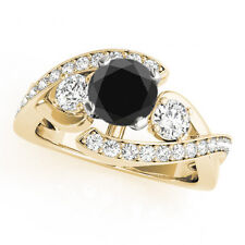 2.66 Carat Black Diamond Solitaire Wedding Huge Ring 14k Yellow Gold Gorgeous !!