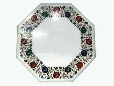 "18"" Marble Coffee Table Top Floral Inlay Semi Precious Stones Work Decor"
