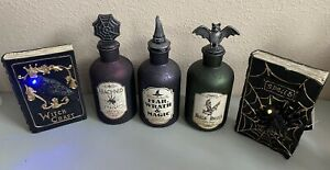Halloween Glass Potion Bottles & Light Up Book Decorations Decor Witch Spells