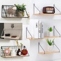 Iron Wooden Wall Shelf Bedroom Home Decor Holder Storage Rack Organizer Gifts