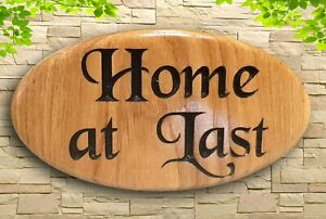 Personalised  Oval Carved House Number Name  Wooden Sign Address Plaque Outdoor