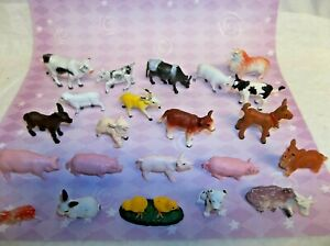Lot of 27 Miniature Plastic Toy Animals Farm wide variety rare ones