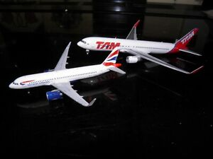 2 Gemijets model aircraft. British Airways A320 and  TAM Boeing 767 1:400