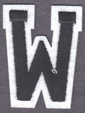 """LETTERS -  2"""" Black & White Letter  """"W""""  - Iron On Embroidered  Applique"""
