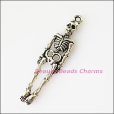 8Pcs Antiqued Silver Tone Halloween Human Skull Charms Pendants 9x39mm