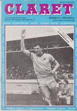 Programme / Programma Burnley FC v Milwall 20-02-1982