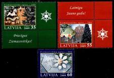 Weihnachten.Weihnachtsschmuck Pferd,Fisch,Schneekristall.3W.Rand(1)Lettland 2009