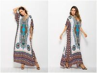 New Women Kaftan Caftan Maxi Dress Blue African Dashiki Hippie Boho Plus Size