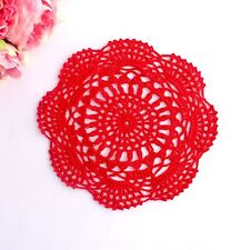 Crochet doily in Red 20 - 22 cm for millinery , hair and crafts