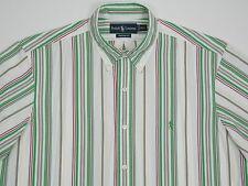 Mens Polo Ralph Lauren Custom Fit  L/S Cotton w/  Multi Color Stripes Large NWOT