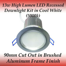 13 watt LED Recessed Downlight Kit in Cool White with Silver Frame