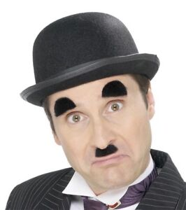 20s Black Charlie Chaplin Moustache + Eyebrow Set Mens Fancy Dress