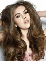 100% Human Hair Fashion Sexy Natural Ladies Long Wavy Dark Brown Wigs wig