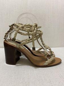 ZIMMERMANN - Link Weave Tie Heel - Natural - Sz 38 /US 7.5 / Au7 / UK5