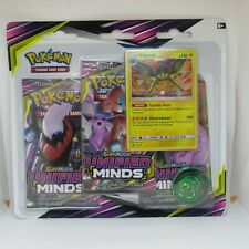 Pokemon Unified Minds TCG Cards - VIKAVOLT BLISTER 3 PACK Boosters + 1 Coin