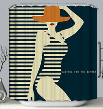 Vintage/Retro-Look Swimsuit Woman Hat Shower Curtain Ocean Summer Beach Stripes
