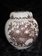 VINTAGE MASON'S Patent Ironstone Ginger Jar FRUIT BASKET Pattern (Brown)