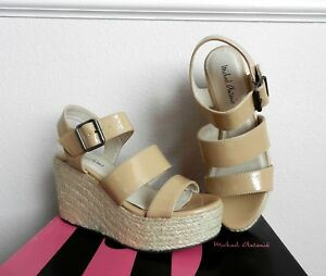 NIB Michael Antonio Gensen Espadrille Platform Wedge Sandals in Nude size 6M