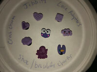 3D Purple Lot Of 8 Crocs Shoe, Bracelet Charms,Jibbitz,Frog,Clouds, Heart & More