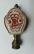 """Vintage Antique Hand Painted Ceramic Lamp Finial ESTATE w/ Brass 3"""" t x 1-1/2"""" w"""