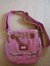 CAS8 pink Canvas Floral & Braun Lederoptik Trim Umhängetasche, Handtasche Lovely