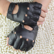 Men Punk Faux Leather Gloves Half Finger Fingerless Biker Sports Cycling Black