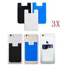 3X Adhesive Silicone Credit Card Pocket Money Pouch Holder Case For Ce