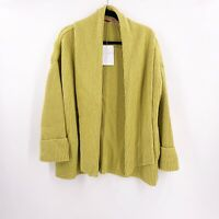 Free People Open Front Cardigan Sweater Size Small Celery Green Heavy Pockets