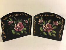 Vintage Nashco Products Hand-Painted Bookends Toleware