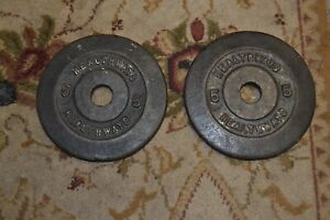 """LOT OF 2 HEALTHWAYS 5 POUND WEIGHT PLATES FOR USE WITH 1"""" BAR TOTAL 10 LBS."""