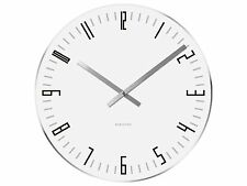 Karlsson Slim Index Glass Wall Clock, 40cm, White