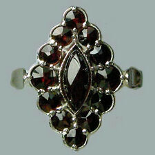 Size 6,75 Bohemian Rose Cut Garnet Sterling Silver Ring SR-565 Jewelry Certific.