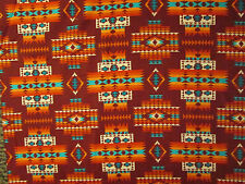 Navajo Indian Multi II  Orange Teal Black Terracotta Print Cotton Fabric FQ