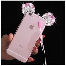 for iPhone 7+ PLUS - Pink Diamond Rhinestone Minnie Mouse Ears Rubber Case Cover