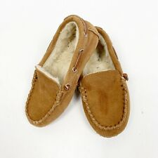 Lands End Kids Boys Slipper House Shoe Moccassin Brown Suede Fur Size 1y