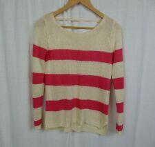 Olive & Oak Striped Long Sleeve Sweater Open Back Casual Knit Shirt Size XS
