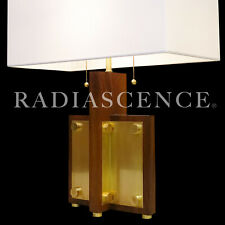 ART DECO STREAMLINE MODERN ARCHITECTURAL WALNUT BRASS TABLE LAMP 1940'S WRIGHT