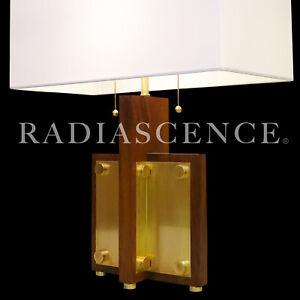 ART DECO STREAMLINE MODERN ARCHITECTURAL WALNUT BRASS TABLE LAMP 1940s wright
