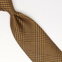 John G Hardy Mens Silk Wool Necktie Tan Brown POW Glen Plaid Check Tie Italy