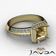Halo Pave VS1-VS2 Diamond Engagement Ring Asscher Semi Mount 1Ct 14k Yellow Gold