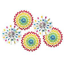 RAINBOW POLKA DOT CHEVRON PAPER FAN DECORATIONS (5) ~ Birthday Party Supplies
