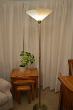 Uplighter Floor Lamp Art Deco Style Large White Amber Glass Shade 40cm