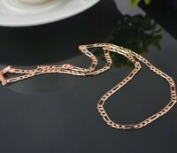 18k PALE ROSE GOLD FILLED FIGARO 5mm WIDE NECKLACE CHAIN - 50CM LONG