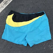 Vintage Nike 90's White Tag Aqua Blue Yellow Black Swim Shorts Travis Scott XL
