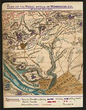 "Rebel Attack on Washing DC, Civil War MAP, 1864, antique decor, 20""x16"" print"