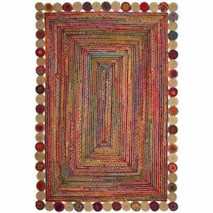 6x9 feet square indien braided cotton jute rugs bohemian living room area rug