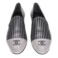 Chanel - New Loafers CC Cap Toe Black Leather White Stripe - US 5.5 - 36