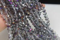 70  PCS , 6X8 mm New AB Multi-Colour Crystal Gemstone Abacus Loose Beads