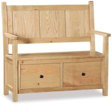 Helford Oak Monks Bench / Light Oak Hallway Bench / Handcrafted Storage Bench